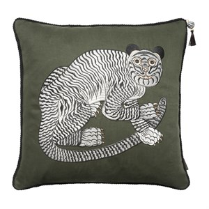 Cozy Living - Fable Tiger Embroidered - Olive