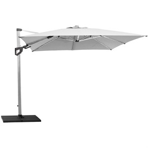 Cane-line - Parasol - Hyde luxe tilt, 3x3 m. inkl. fod ,  Dusty white dug med Silver mat anodiseret stang