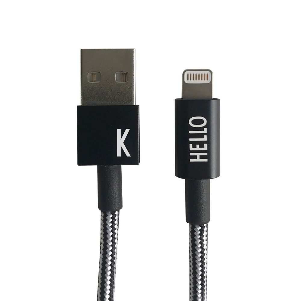 "Design Letters - IPhone oplader kabel - ""K"" - Sort/Hvid"