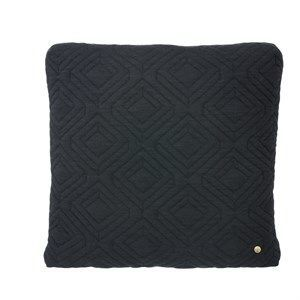 Ferm Living - Pude - Quilt cushion dark grey 45 x 45