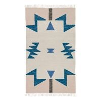 Ferm Living tæppe - Kelim rug - blue triangles (large)