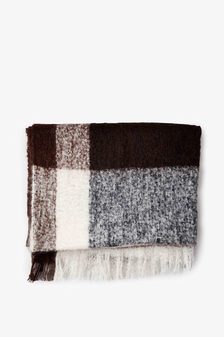 New Works - plaid i mohair wool - dark brown