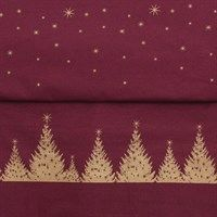 AU Maison - juledug i coated fabric - Gold/burgundy