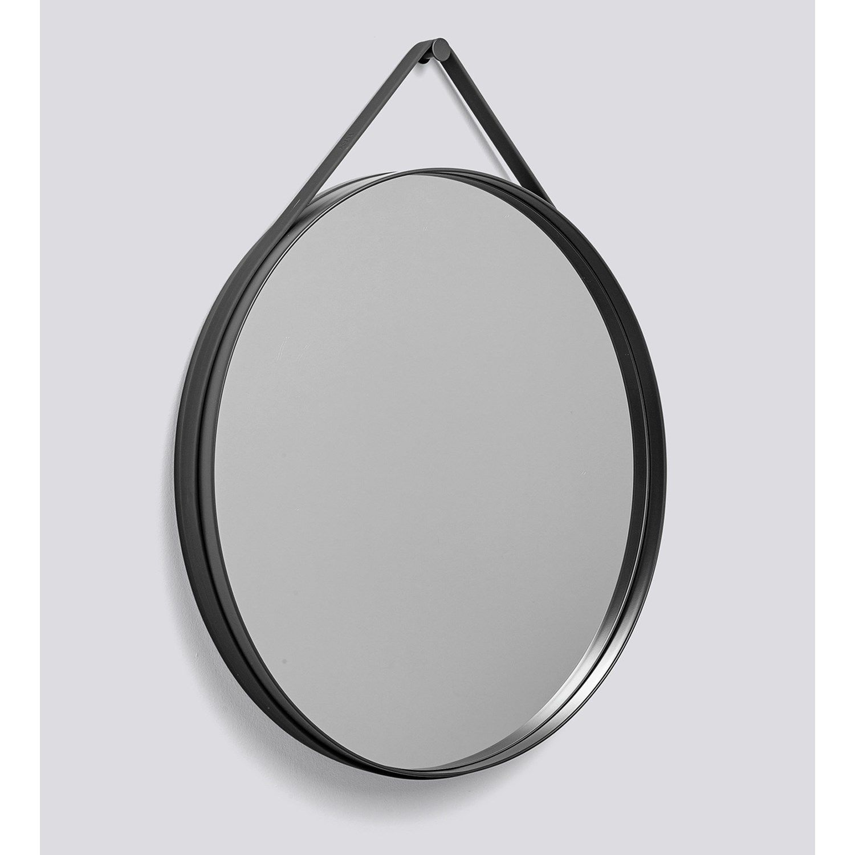 hay strap mirror spejl d70cm anthracite fri fragt. Black Bedroom Furniture Sets. Home Design Ideas