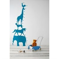 Ferm Living - Wall sticker - Animal Tower bl�