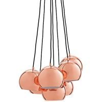 Frandsen Lighting - Ball multi pendel (kobber) m. sort stofledning