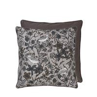 Cozy Living - Cotton Floral Bird Cushion - Square - STEEL
