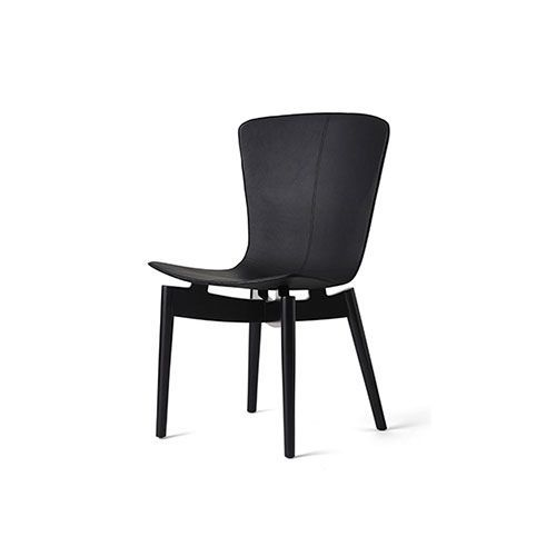 Mater - Shell Dining Chair - black leather (black beech)