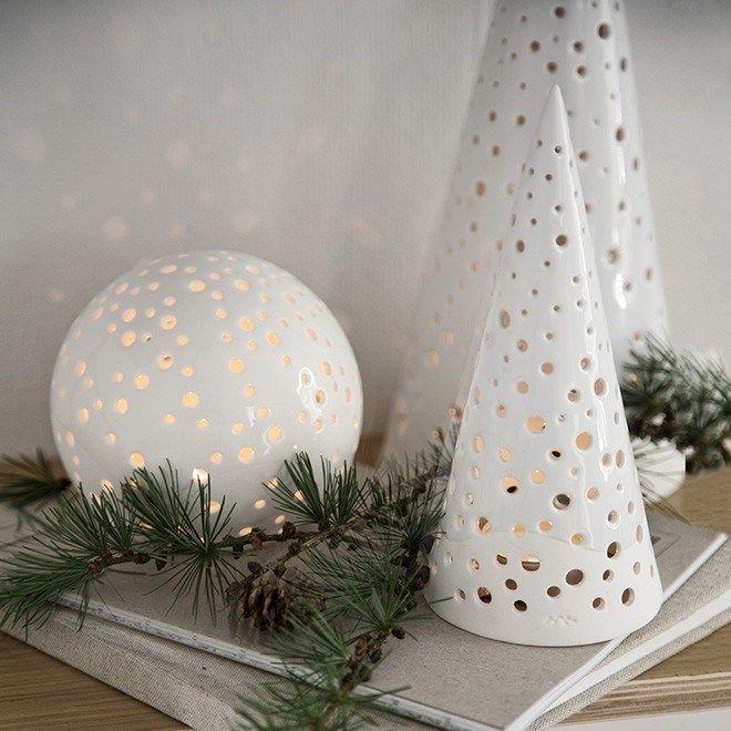 Kähler - Nobili - Juletræ H28,5 cm - Snehvid - Fri Fragt