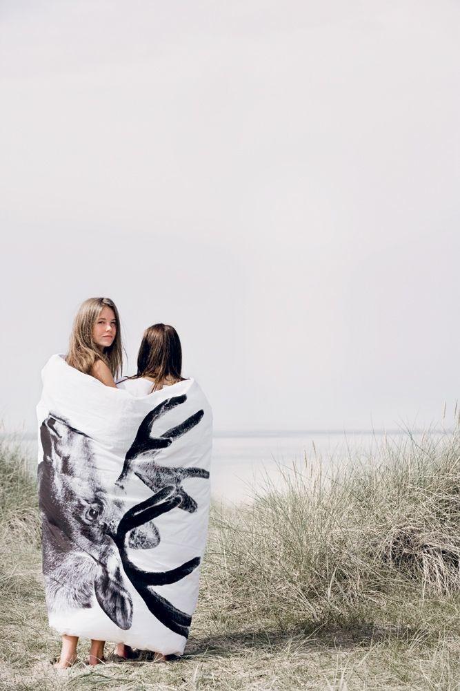 By nord   sengetøj til dobbeltdyne med print af elg 200 x 200